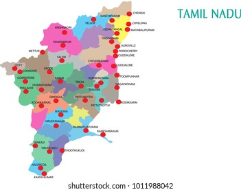 tamilnadu districts vector map silhouette illustration isolated on India map.