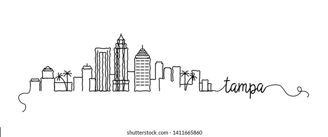 Tampa City Skyline Doodle Sign