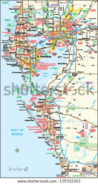 Map Of Florida Area.Tampa Florida Area Map Stock Vector Royalty Free 139332365