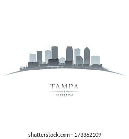 Tampa Florida city skyline silhouette. Vector illustration