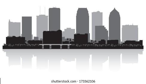 Tampa Florida city skyline vector silhouette illustration