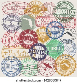 Tampa Florida. Set of Stamps. Travel Stamp. Made In Product. Design Seals Old Style Insignia.