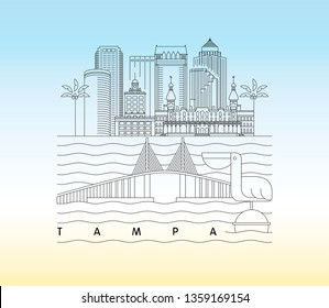 Tampa, Florida skyline vector illustration and typography design