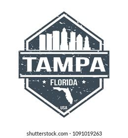Tampa Florida Travel Stamp Icon Skyline City Design Tourism