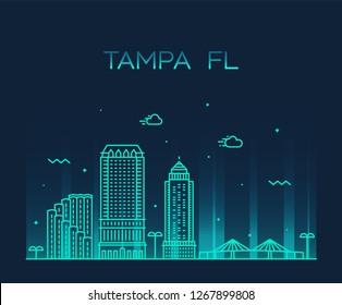 Tampa skyline, Hillsborough County, Florida, USA. Trendy vector illustration, linear style