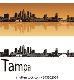 Tampa skyline in orange background in editable vector file
