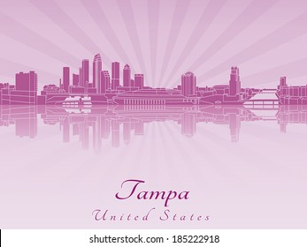 Tampa skyline in purple radiant orchid in editable vector file