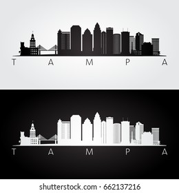 Tampa USA skyline and landmarks silhouette, black and white design, vector illustration.
