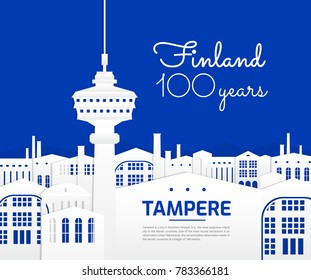Tampere Finland city vector illustration - great graphic for poster design - travel in Finland - blue and white color background - Tampere main tourist attractions and landmarks concept
