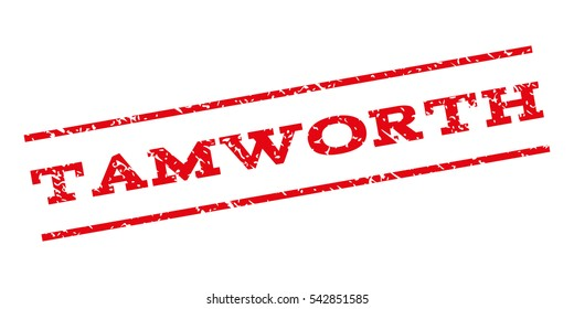 Tamworth watermark stamp. Text caption between parallel lines with grunge design style. Rubber seal stamp with dust texture. Vector red color ink imprint on a white background.