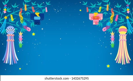 Tanabata festival Background vector illustration. Bamboo trees and Tanabata decoration with starry night sky
