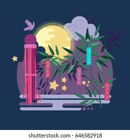 """Tanabata"" of Japanese traditional event. Creative concept japanese style illustration. Vector composition with fukinagashi and tanzaku."