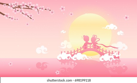 Tanabata or Qixi festival(Chinese Valentine's day) Vector illustration, Celebrates the annual meeting of the cowherd and weaver girl on seventh day of the 7th month.