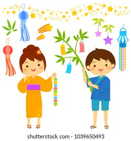 Tanabata star festival in Japan. Cartoon kids and icons set drawn in cute style.
