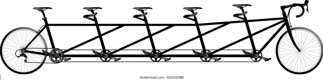 Tandem bicycle for 5 people, a quint bike, cycle race derby sport series equipment objet realistic vector illustration
