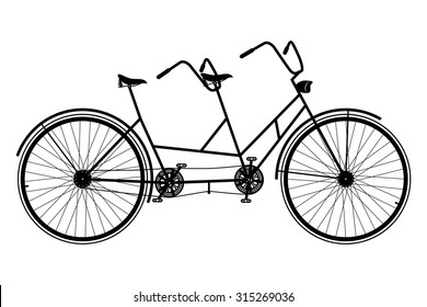 Tandem Bicycle. Retro Bike Vector Silhouette on a White Background