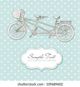Tandem Bicycle Wedding Invitation with polka dot background