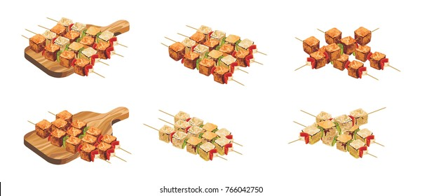 tandoori paneer tikka illustration, popular indian food or starter