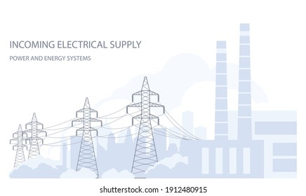 Tangent towers, high voltage power line pylons and city silhouette, town skyline, power supply