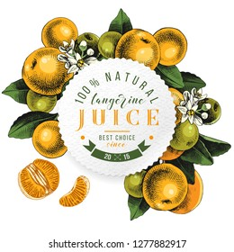 Tangerine juice round emblem over background with hand drawn tangerine branches, flowers and fruits. Vector illustration