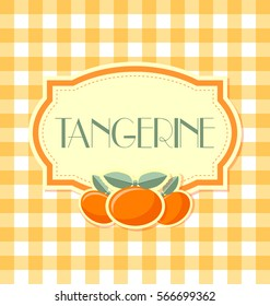 Tangerine label in retro style on squared background