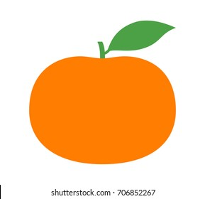 Tangerine or mandarin orange citrus fruit with leaf flat vector color icon for apps and websites