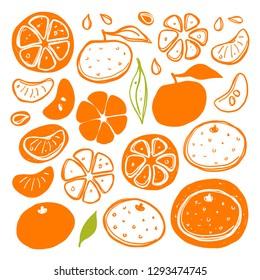 Tangerines set. Whole, half, sliced, bitten fruits. Ink hand drawn vector illustration. Can be used for cafe, menu, shop, bar, restaurant, poster, sticker, logo, detox diet concept, farmers market