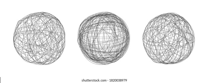 Tangle chaos abstract hand drawn messy scribble sphere ball vector illustration set. Random chaotic dynamic scrawl lines. Wild emotion irregular pattern isolated on white background.