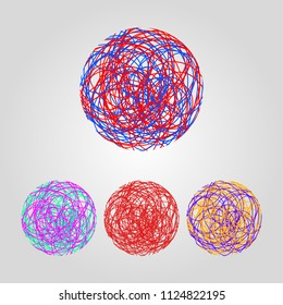 Tangle, tangled circle, set of hand drawn doodle circles made of thin threads. Vector illustration