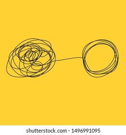 Tangle tangled and untangled. Abstract metaphor, concept of solving problems in business