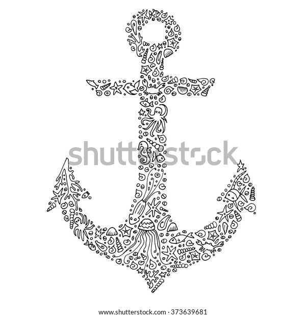 Tangled Adult Coloring Page Handdrawn Anchor Stock Vector ...