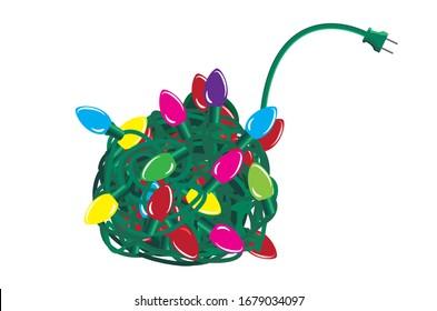 Tangled ball of colorful Christmas lights