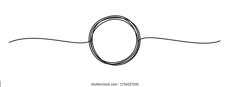 Tangled banner with scribbled circle hand drawn with thin line, divider shape. Isolated on white background. Vector illustration