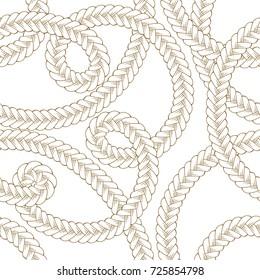 Tangled braids vector seamless pattern
