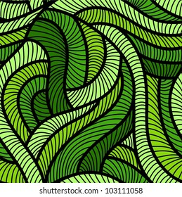 Tangled green seamless pattern.