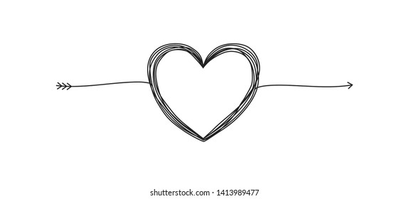 Tangled grunge round scribble hand drawn heart with arrow, divider shape. Vector illustration.