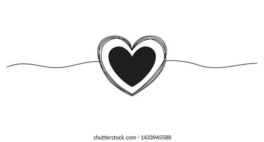 Tangled grunge round scribble hand drawn heart with thin line, divider shape. Vector illustration.