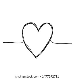 Tangled grunge round scribble hand drawn heart with thin line, divider shape.doodle style vector