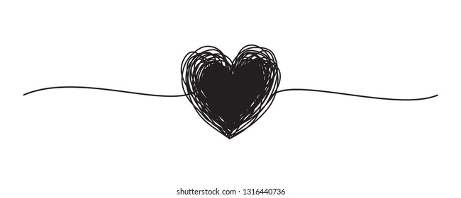 Tangled grungy black heart scribble hand drawn with thin line, divider shape. Isolated on white background. Vector illustration
