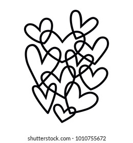 Tangled hand illustrated vector holiday Valentine heart.  Overlapping monochromatic hand drawn Valentine's Day hearts.