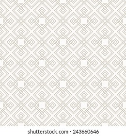 Tangled modern pattern, based on traditional oriental patterns. Seamless vector background. Two colors - easy to recolor.