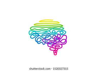 Tangled rainbow colored wire in brain shape vector illustration. Abstract cerebrum color spectrum rope on white background. Creative thinking concept. Psychoanalysis backdrop with text space