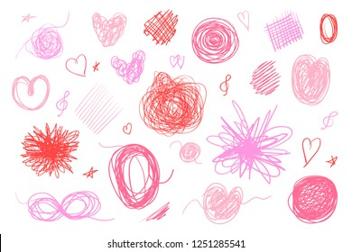 Tangled shapes on white. Hand drawn lines on isolated background. Chaotic signs with hatching. Colorful illustration. Elements for poster and flyer