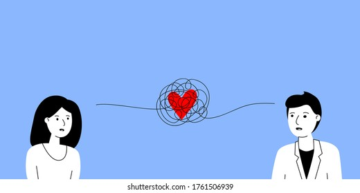 tangled thread with heart between man and woman. concept of hard relationship, complex trouble characters, confuse feelings friend, sad people, emotional burnout. simple sign on blue background
