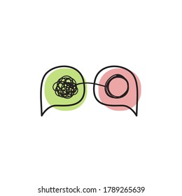 Tangled and untangled concept. Two bubbles with tangles. Coaching logo, therapy icon