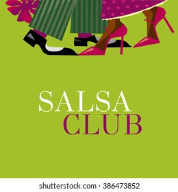 tango concept vector illustration. pair step densing. decorative salsa dance poster. densers legs.