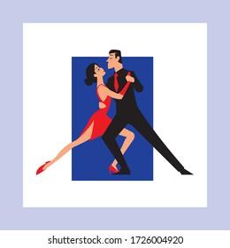 A tango couple dancing vector illustration