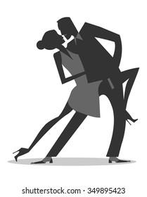 Tango couple silhouettes