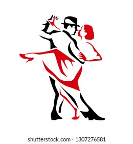 Tango dancing couple man and woman vector illustration, logo, icon for dansing school, party