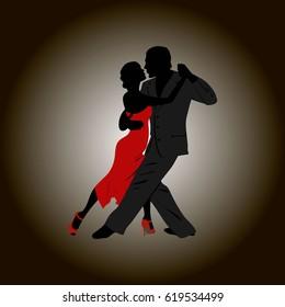 Tango dancing couple: man and woman. International tango day card vector illustration